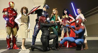 Iron Man Peggy Carter Captain America Black Widow Poison Ivy Wonder Woman Spider Man and Rey from Star Wars at Free Comic Book Day at Bedrock City Comic Company