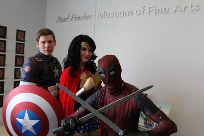 Captain America Wonder Woman and Deadpool at The Pearl Fincher Museum of Fine Arts