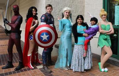 Dead pool Wonder Woman Captain America Elsa and Tinkerbell at The Barbara Bush Library