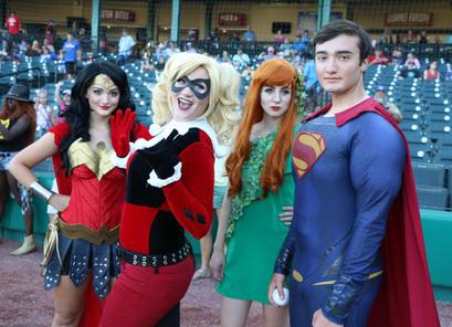 Wonder Woman Harley Quinn Poison Ivy and Superman at Constellation Field with The Skeeters Baseball Game