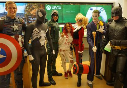 Captain America Spiderman Green Arrow Harley Quinn Joker and Batman at Microsoft!