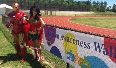Iron Man and Wonder Woman at The Autism Awareness Walk